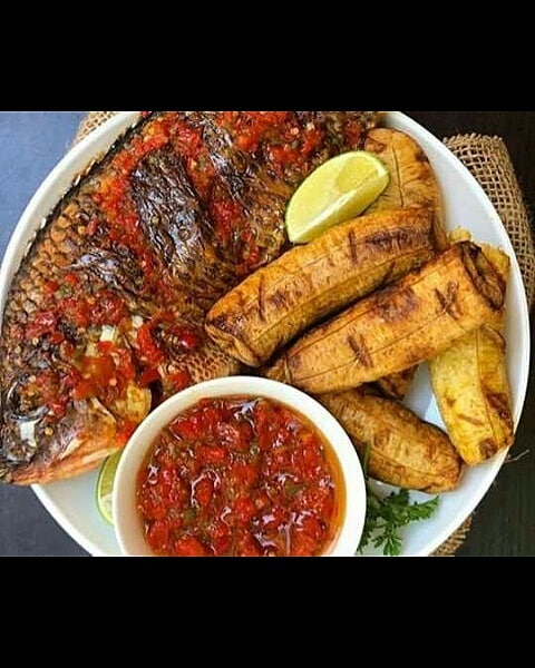 Boli and Tilapia fish with pepper source