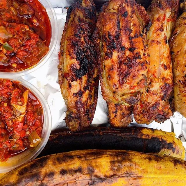 Boli or Yam chips with Turkey